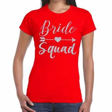 Goedkope bride squad cupido zilver glitter t shirt rood dames