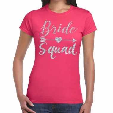 Goedkope bride squad cupido zilver glitter t shirt roze dames
