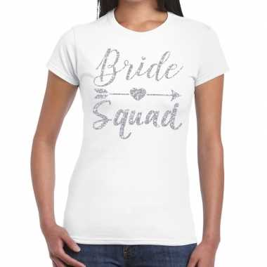 Goedkope bride squad cupido zilver glitter t shirt wit dames
