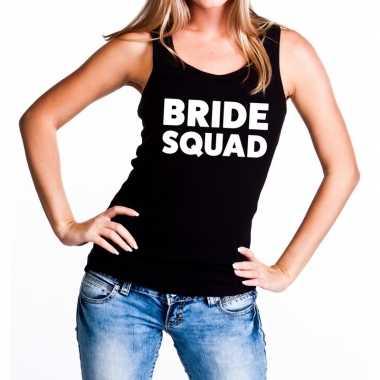 Goedkope bride squad vrijgezellenfeest tanktop / mouwloos shirt zwart