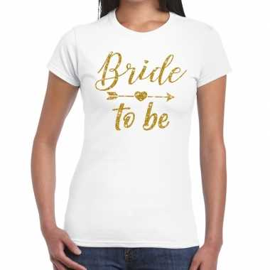 Goedkope bride to be cupido goud glitter t shirt wit dames