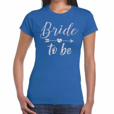 Goedkope bride to be cupido zilver glitter t shirt blauw dames