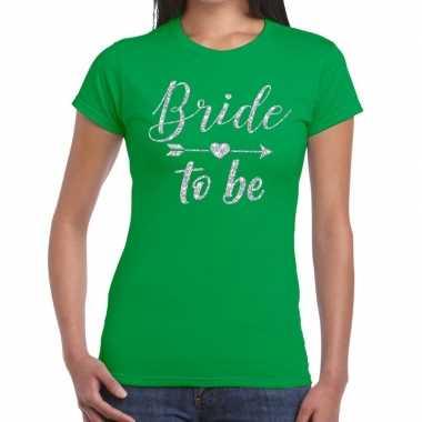 Goedkope bride to be cupido zilver glitter t shirt groen dames
