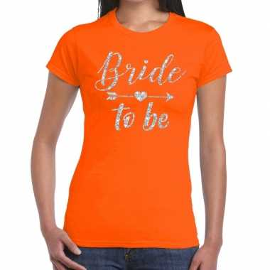 Goedkope bride to be cupido zilver glitter t shirt oranje dames