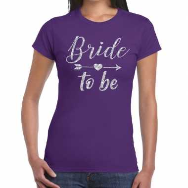Goedkope bride to be cupido zilver glitter t shirt paars dames