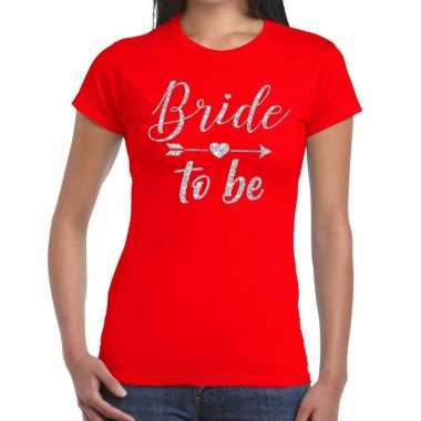 Goedkope bride to be cupido zilver glitter t shirt rood dames