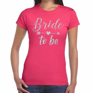 Goedkope bride to be cupido zilver glitter t shirt roze dames