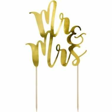 Goedkope bruidstaart decoratie topper mr & mrs goud