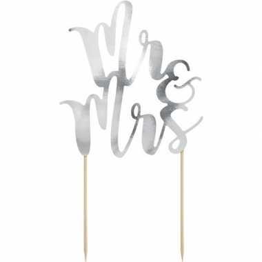 Goedkope bruidstaart decoratie topper mr & mrs zilver