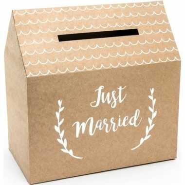 Goedkope bruiloft/huwelijk enveloppendoos kraftpapier huisje