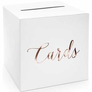 Goedkope bruiloft/huwelijk enveloppendoos wit/rosegoud cards