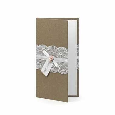 Goedkope bruin bruiloft gastenboekje kant