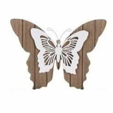 Goedkope bruin/witte houten vlinder