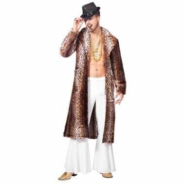 Goedkope bruine pimp/pooier verkleed jas heren