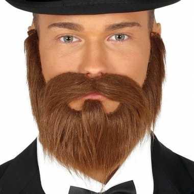 Goedkope bruine verkleed baard snor