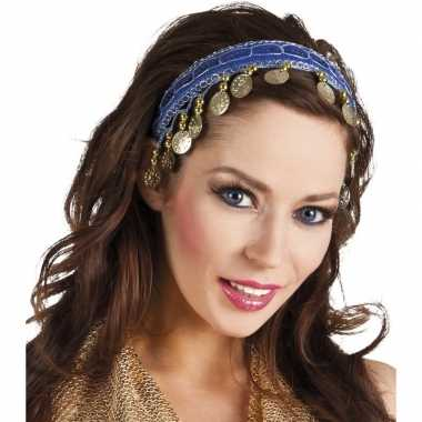Goedkope buikdanseres hoofdband/diadeem kobalt blauw dames verkleedac