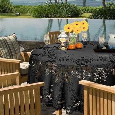 Goedkope buiten tafelkleed/tafellaken antraciet grijs amira rond
