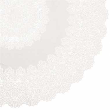 Goedkope buiten tafelkleed/tafellaken ivoor wit amira rond