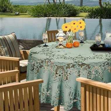 Goedkope buiten tafelkleed/tafellaken zeegroen amira rond
