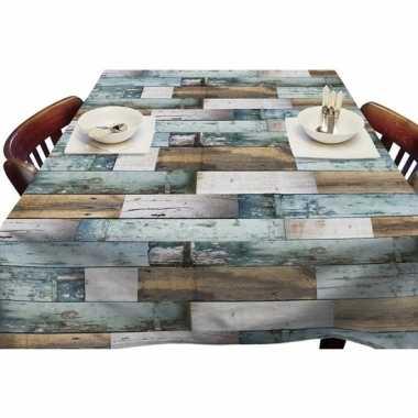 Goedkope buiten tafelkleed/tafelzeil blauw houten planken