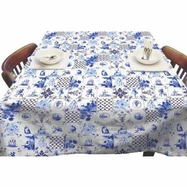 Goedkope buiten tafelkleed/tafelzeil delfts blauwe tegels