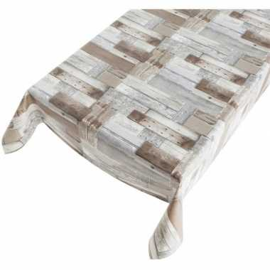Goedkope buiten tafelkleed/tafelzeil houten planken motief
