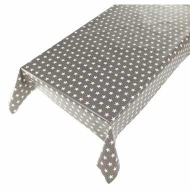 Goedkope buiten tafelkleed/tafelzeil sterren grijs