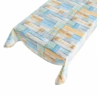 Goedkope buiten tafelkleed/zeil houten planken motief blauw