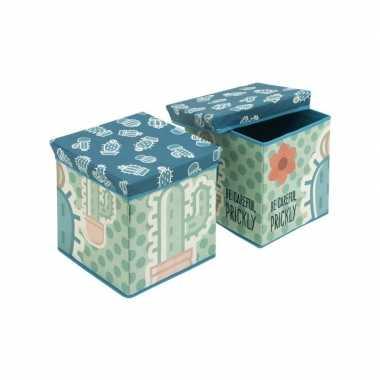 Goedkope cactus blauw/groene poef/zitje opbergbox