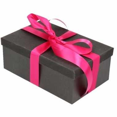 Goedkope cadeau gift box set zwart glitter fuchsia roze lint