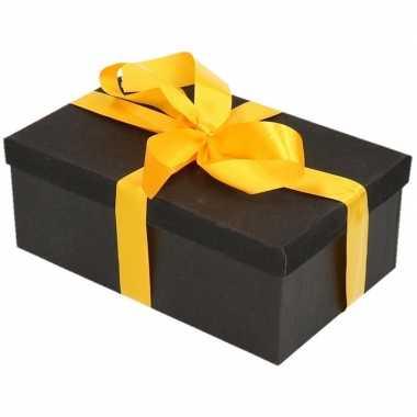 Goedkope cadeau gift box set zwart glitter geel lint