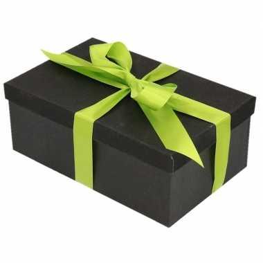 Goedkope cadeau gift box set zwart glitter lichtgroen lint