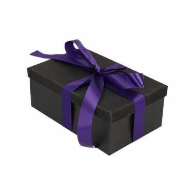Goedkope cadeau gift box set zwart glitter paars lint