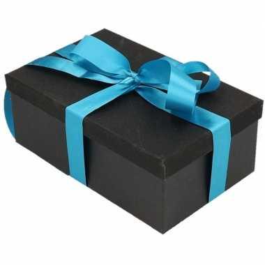 Goedkope cadeau gift box set zwart glitter rechthoek blauw lint