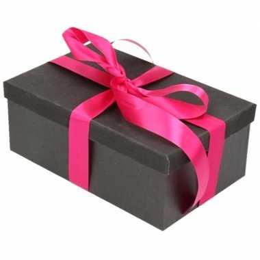 Goedkope cadeau gift box set zwart glitter rechthoek/fuchsia lint