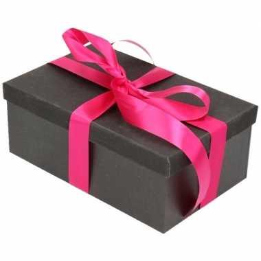 Goedkope cadeau gift box set zwart glitter rechthoek fuchsia lint