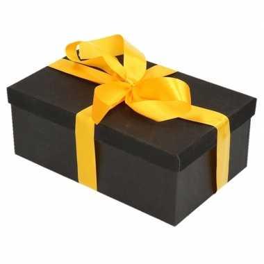 Goedkope cadeau gift box set zwart glitter rechthoek geel lint