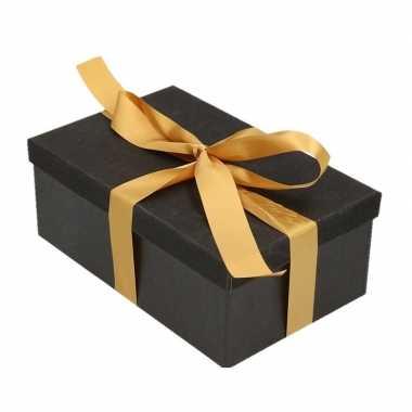 Goedkope cadeau gift box set zwart glitter rechthoek goud lint