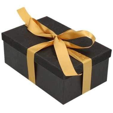 Goedkope cadeau gift box set zwart glitter rechthoek goudkleurig lint