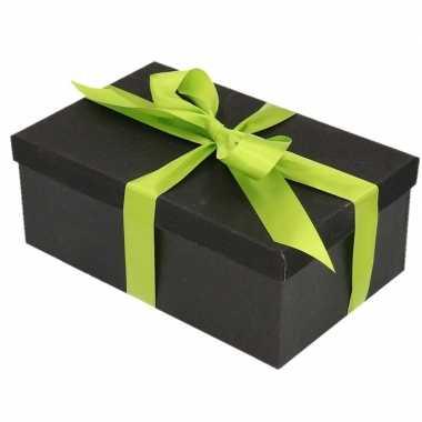Goedkope cadeau gift box set zwart glitter rechthoek groen lint