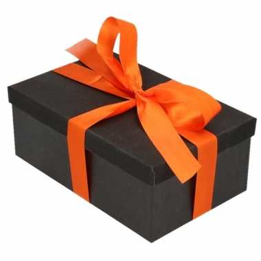 Goedkope cadeau gift box set zwart glitter rechthoek oranje lint