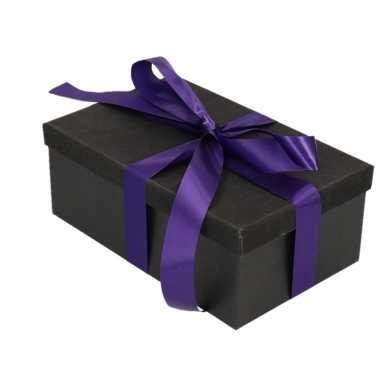 Goedkope cadeau gift box set zwart glitter rechthoek paars lint