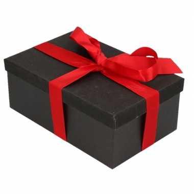 Goedkope cadeau gift box set zwart glitter rechthoek rood lint