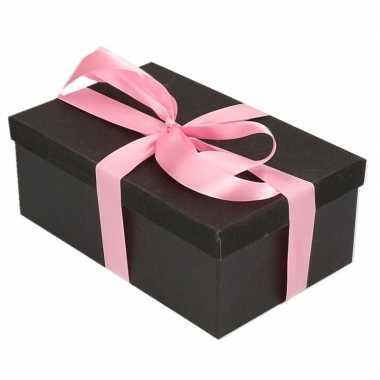 Goedkope cadeau gift box set zwart glitter rechthoek roze lint