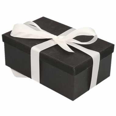 Goedkope cadeau gift box set zwart glitter rechthoek wit lint