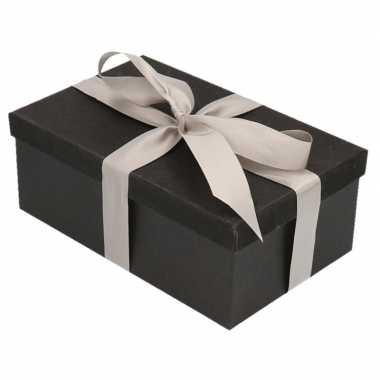 Goedkope cadeau gift box set zwart glitter rechthoek zilver lint