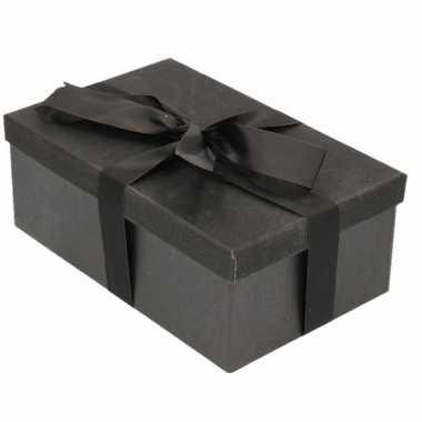 Goedkope cadeau gift box set zwart glitter rechthoek zwart lint