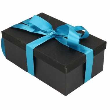 Goedkope cadeau gift box set zwart glitter rechthoekig blauw lint