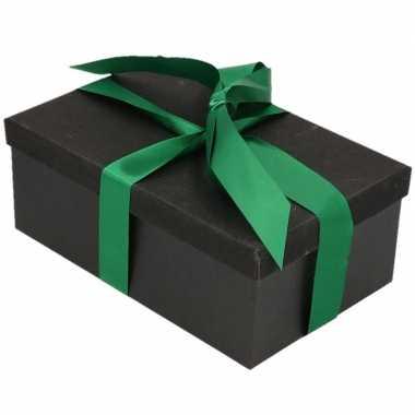 Goedkope cadeau gift box set zwart glitter rechthoekig groen lint