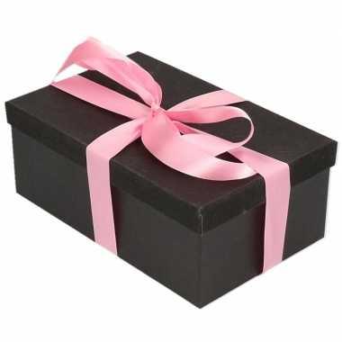 Goedkope cadeau gift box set zwart glitter roze lint